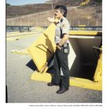 Ranger John Martini at entrance to Fort Barry SF-88 missile silo, 1990.