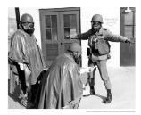 Three soldiers in hazardous material suits at SF-87, Fort Cronkhite's Nike Site, c1960.