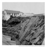 View of the types of terracing required to prevent rock slides on the island. These structures were built by inmates, c1940s-50s.
