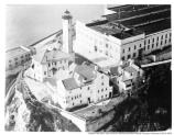 Aerial view of the Warden's house and the Alcatraz lighthouse, c1940s-1950s