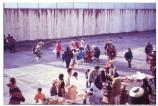 Native Americans celebrating Thanksgiving in Alcatraz's recreation yard, 1969.