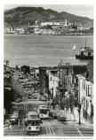 Looking down Hyde Street towards Alcatraz, c. 1979.