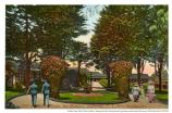 """Presidio Grounds, San Francisco, California."" Postcard of soldiers and ladies walking around circle, 1918."