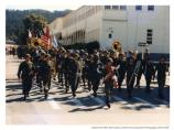 Army band marching in deactivation ceremony, 1994.