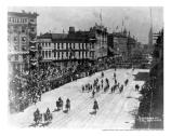CA Boys return, Parade on Market Street, The Ferry Build can be seen in the distance, 1899.