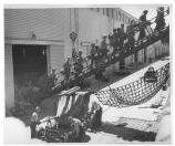 Troops loading ships at Fort Mason Port of Embarkation, cWWII.
