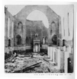Photograph of damage inside a church in San Francisco after the 1906 earthquake.