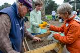Volunteers at Sutro Heights for an archaeology site