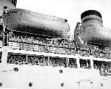 Hundreds of thousands of service men came home from the Pacific on huge military transport ships. Once they landed at Fort Mason, they were escorted to the Staging Area, where they were fed an American meal, their papers were processed and they were reunited with their families.