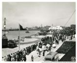 """View of crowd, T-Day."" Wide shot of Port of Embarkation, February 21, 1945."