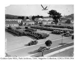 Military vehicles lining the Presidio's main parade grounds, cWWII.