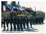 Army members carrying state flags in deactivation ceremony, 1994.