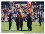 Soldiers holding flags of Presidio in deactivation ceremony, 1994