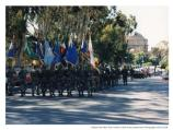 Soldiers in deactivation ceremony marching towards Palace of Fine Arts, 1994.