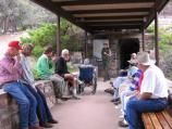 Ranger discusses logistics before entering Lehman Caves with tour group.