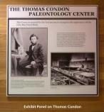 Image of the Thomas Condon exhibit panel located next to the entrance to the museum inside the Thomas Condon Paleontology Center.