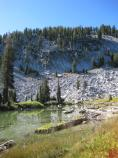 Cliff Lake is shallow and lies in a depression under Reading Peak. Surrounding the lake is abundant with flowers July through August.