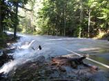 Kautz Creek flows across the park road the day after the storm
