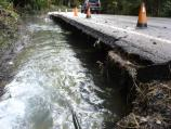 The park road was seriously undermined by Kautz Creek.