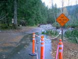 Erosion by the Nisqually River tore out part of the road through the historic Longmire Campground.