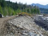 Pierce County crews work to rebuild the Nisqually Levee, along the border of Mount Rainier National Park.