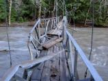 The suspension bridge at the Grove of the Patriarchs was heavily damaged.