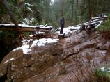 Flooding scoured the approach to the Silver Falls bridge down to bedrock.