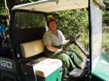 A campground host hard at work in Cougar Rock Campground, Mount Rainier National Park