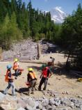 A work crew builds a scenic vista at Kautz Creek