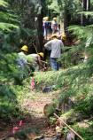 On National Trails Day, volunteers work to rebuild a stretch of the Wonderland Trail, south of Cougar Rock, that was destroyed by flooding.