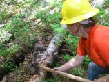 A volunteer helps clear a fallen tree from the Comet Falls trail, as part of a trail maintenance project led by SCA's Rainier Recovery Corps.