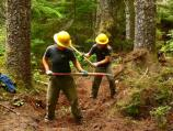 Volunteers help rebuild a damaged section of the Wonderland Trail near Cougar Rock Campground.