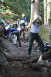 Volunteers from Washington's National Park Fund and SCA's Mount Rainier Recovery Corps help rebuild a section of the Wonderland Trail east of Longmire.