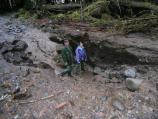 Erosion created deep gouges on the Carbon River Road.