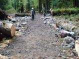 Volunteers and National Park trail crews turned the damaged Carbon River Road into a trail.