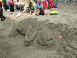 2008 Sand Sculpture Contest: Children's Group 3rd Place Winner: Entry #05: Smiley Turtle, by Samantha and David