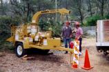 Muir Beach Chipping Program: Neighborhood chipping programs provide a means for residents to dispose of vegetation debris removed from their property to create defensible space. This chipper was provided to the community of Muir Beach through the National Fire Plan.