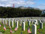 Photo taken at the San Francisco National Cemetery in the Presidio on Memorial Day.