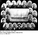 Balclutha, surrounded by pictures of the original crew, from the first voyage in 1887.