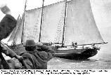 C. A. Thayer sets out for Bristol Bay, Alaska in April of 1912. She is carrying supplies to support a salmon salting operation. This is one of the few pictures of Thayer under sail showing her original gaff mizzen rig.