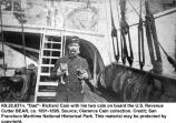 Richard Cain with his two cats on board the U.S. Revenue Cutter BEAR, ca. 1891-1895