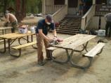 Sanding Picnic Tables near Lodgepole