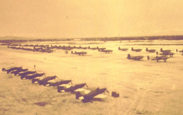 U.S. Lend-Lease planes parked on Ladd Field during World War II.