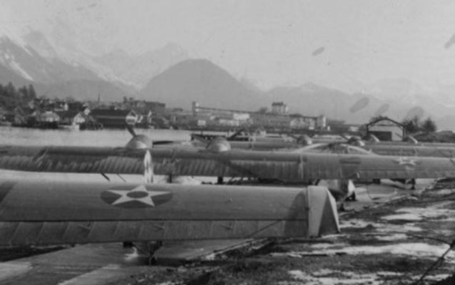 PBYs lined up on the ramp at Sitka Naval Operating Base, ca. 1940.