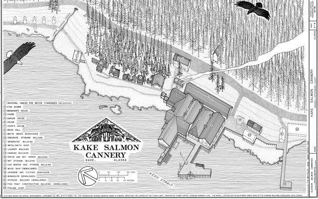 Overview drawing of Kake Cannery property