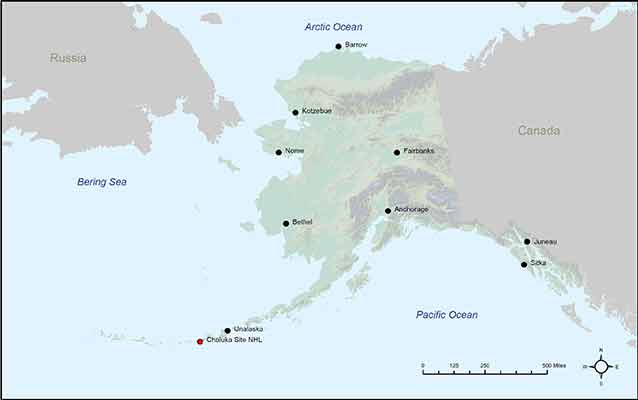 Map of Alaska with Chaluka Site