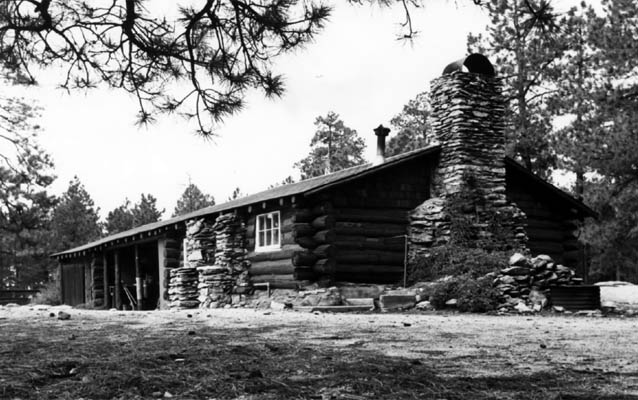 Black and white photo of Manning Cabin from 1972