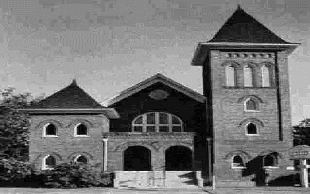 Black and white photo of the First Baptist Church