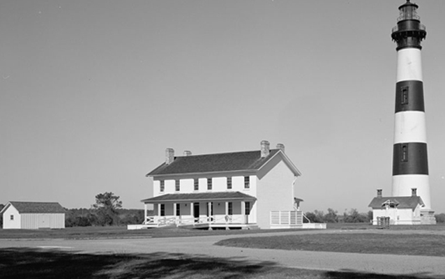 Bodie Island Light Station, black and white photo