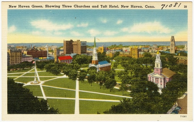 postcard areal view of the new haven green